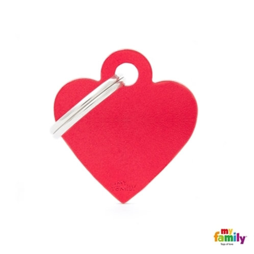 ID TAG BASIC COLLECTION SMALL HEART RED IN ALUMINUM