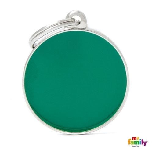 BASIC HANDMADE BIG GREEN CIRCLE ID TAG