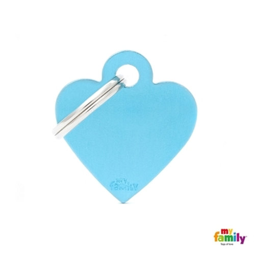 ID TAG BASIC COLLECTION SMALL HEART LIGHT BLUE IN ALUMINUM