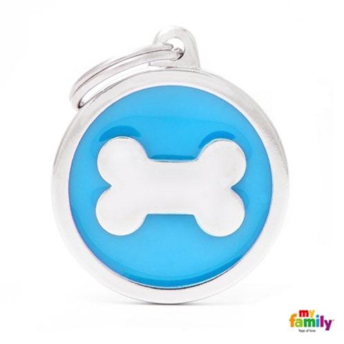 CLASSIC BIG LIGHT BLUE CIRCLE BONE ID TAG
