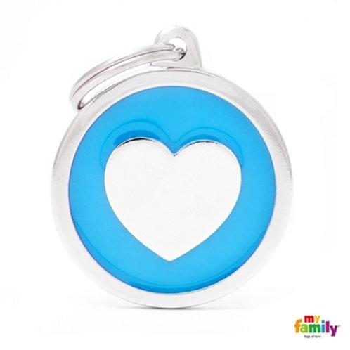 CLASSIC BIG LIGHT BLUE CIRCLE HEART ID TAG