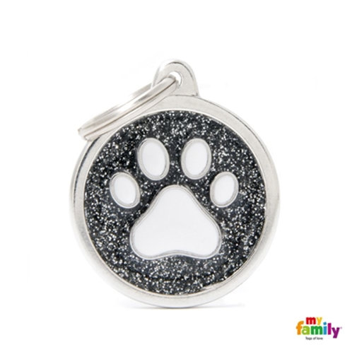 "SHINE ""BIG CIRCLE BLACK GLITTER WHITE PAW"" ID TAG"