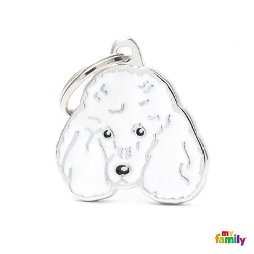 NEW WHITE POODLE ID DOG TAG
