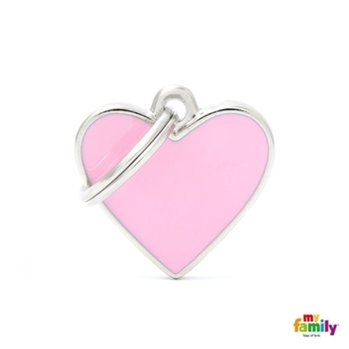BASIC HANDMADE SMALL PINK HEART ID TAG