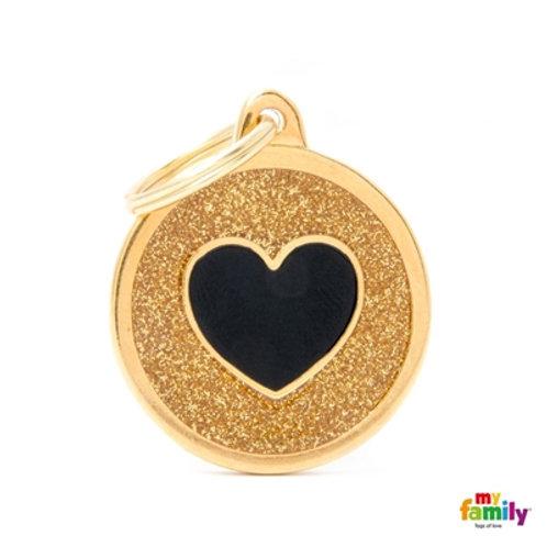 "SHINE ""BIG CIRCLE GOLD GLITTER BLACK HEART"" ID TAG"