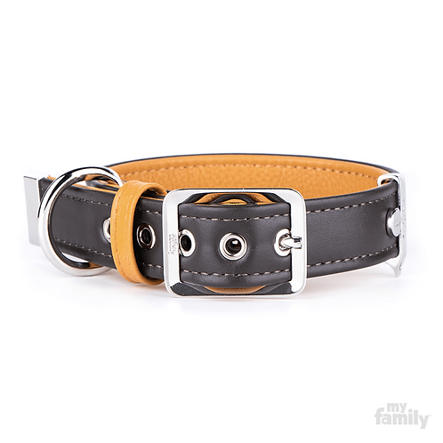 HERMITAGE COLLAR BROWN LEATHER WHITE BRONZE FINISHING