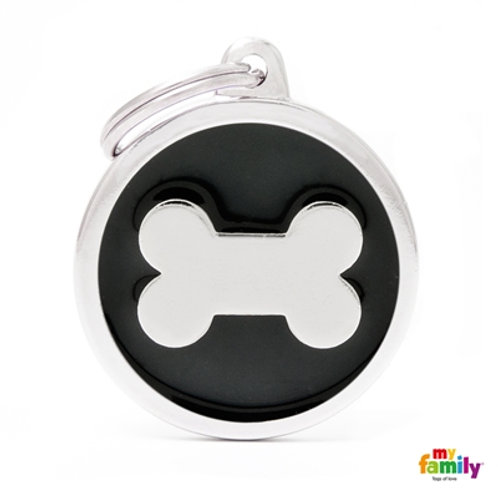 CLASSIC BIG BLACK CIRCLE BONE ID TAG