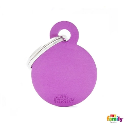 ID TAG BASIC COLLECTION SMALL ROUND PURPLE ALUMINUM