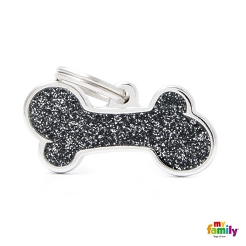 "SHINE ""BIG BONE BLACK GLITTER "" ID TAG"