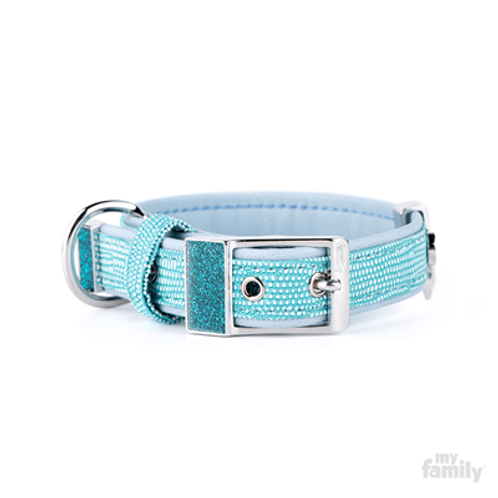 SAINT TROPEZ COLLAR TURQUOISE FAUX LEATHER WHITE BRONZE AND INTERNAL GLITTER FIN