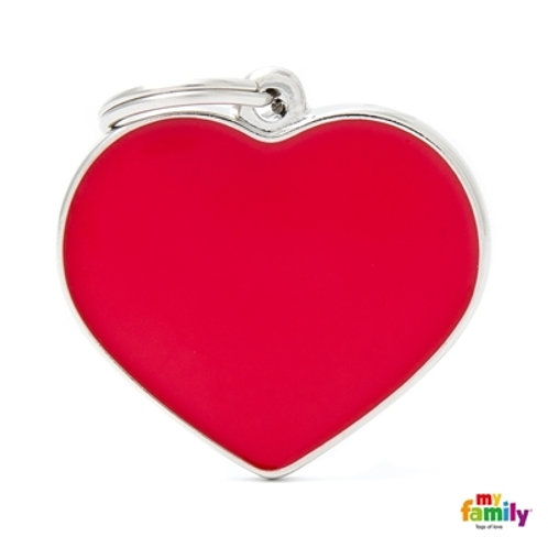 BASIC HANDMADE BIG RED HEART ID TAG