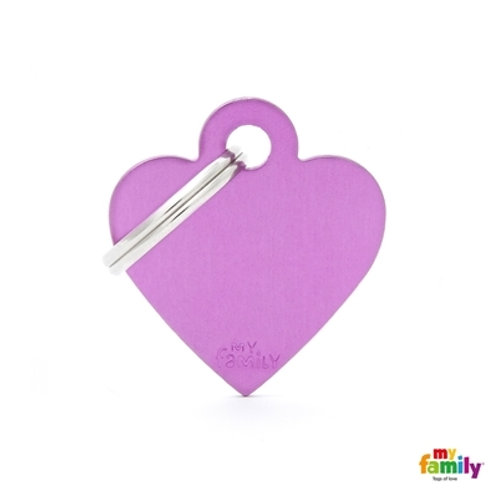 ID TAG BASIC COLLECTION SMALL HEART PURPLE IN ALUMINUM