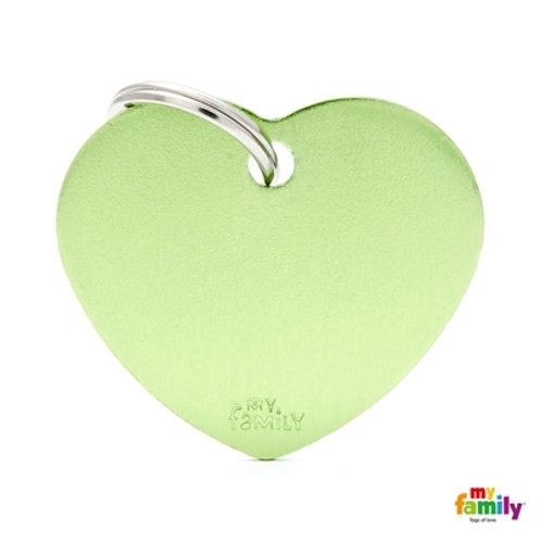 ID TAG BASIC COLLECTION BIG HEART GREEN IN ALUMINUM