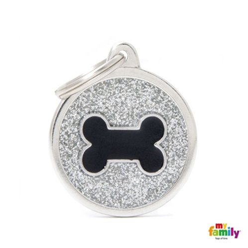 "SHINE ""BIG CIRCLE GREY GLITTER BLACK BONE"" ID TAG"