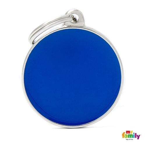 BASIC HANDMADE BIG BLU CIRCLE ID TAG