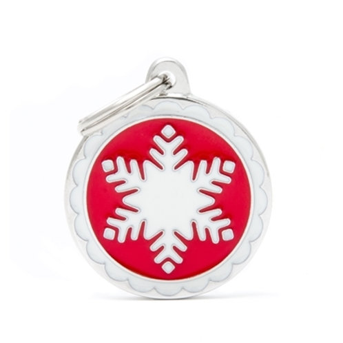 "ID TAG ""BIG RED CIRCLE WHITE SNOWFLAKE"""