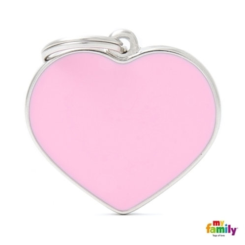 BASIC HANDMADE BIG PINK HEART ID TAG