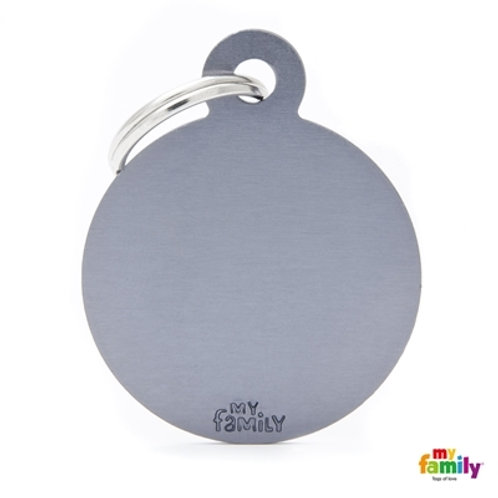 ID TAG BASIC COLLECTION BIG ROUND GREY IN ALUMINUM