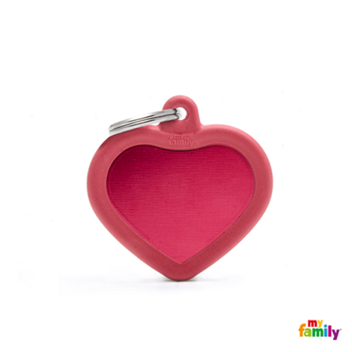 HUSHTAG - ALUMINIUM RED HEART WITH RED RUBBER
