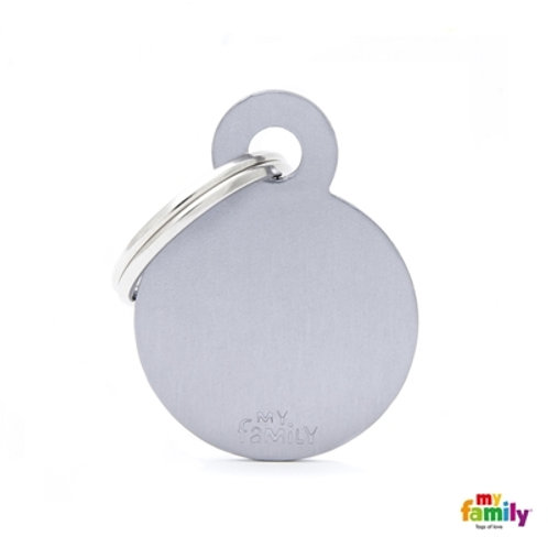 ID TAG BASIC COLLECTION SMALL ROUND GREY IN ALUMINUM