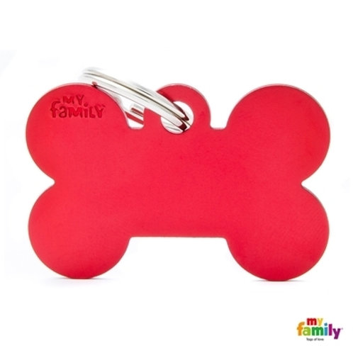 ID TAG BASIC COLLECTION BIG BONE RED IN ALUMINUM