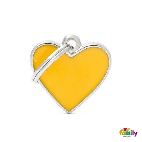 BASIC HANDMADE SMALL YELLOW HEART ID TAG