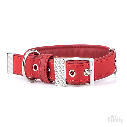 BILBAO COLLAR RED LEATHERETTE WHITE BRONZE FINISHING