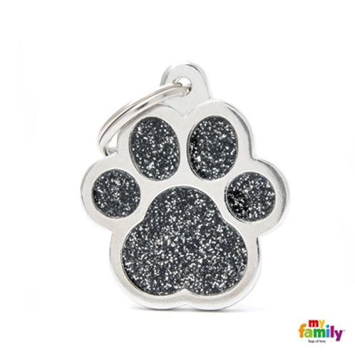 "SHINE ""BIG PAW BLACK GLITTER"" ID TAG"