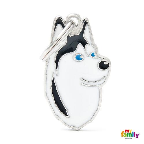 BLACK AND WHITE SIBERIAN HUSKY ID DOG TAG