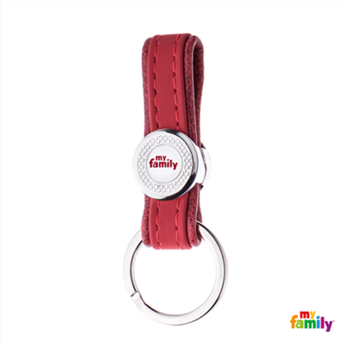 BILBAO KEYRING RED LEATHERETTE WHITE BRONZE FINISHING