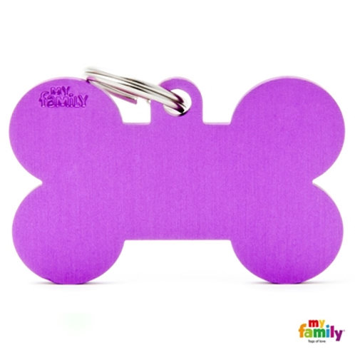 ID TAG BASIC COLLECTION BONE XL PURPLE IN ALUMINIUM