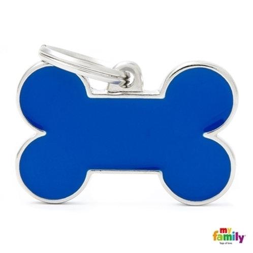BASIC HANDMADE BIG BLUE BONE ID TAG