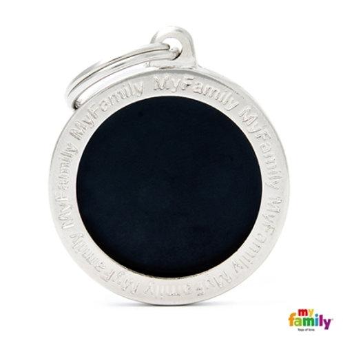 CLASSIC BIG BLACK CIRCLE ID TAG