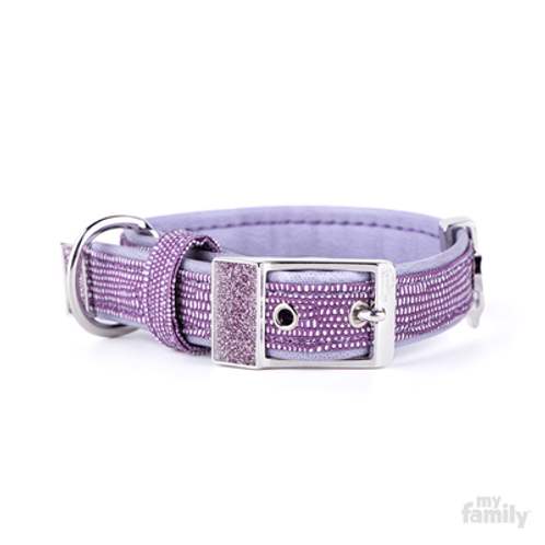 SAINT TROPEZ COLLAR PURPLE FAUX LEATHER WHITE BRONZE AND GLITTER ENAMEL FINISHIN