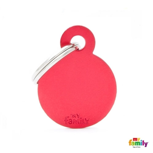 ID TAG BASIC COLLECTION SMALL ROUND RED IN ALUMINUM
