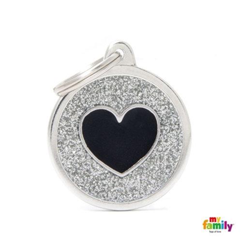 MyFamily Pet Tags Shine Grey Heart