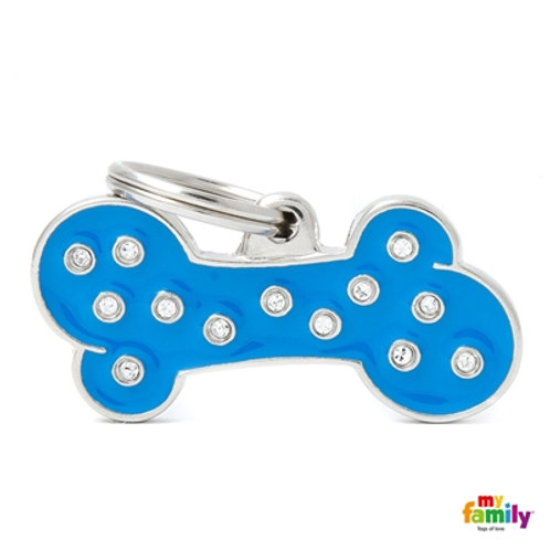 "CHIC ""BIG BLUE BONE STRASS"" ID TAG"