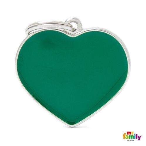 BASIC HANDMADE BIG GREEN HEART ID TAG