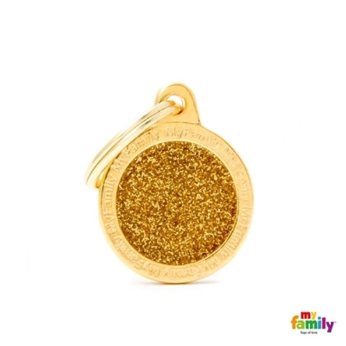 "SHINE ""SMALL CIRCLE GOLD GLITTER"" ID TAG"