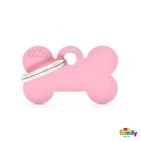 ID TAG BASIC COLLECTION SMALL BONE PINK IN ALUMINUM