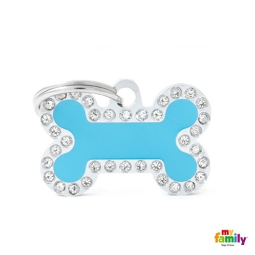 LIGHT BLUE BONE SMALL STRASS ID TAG