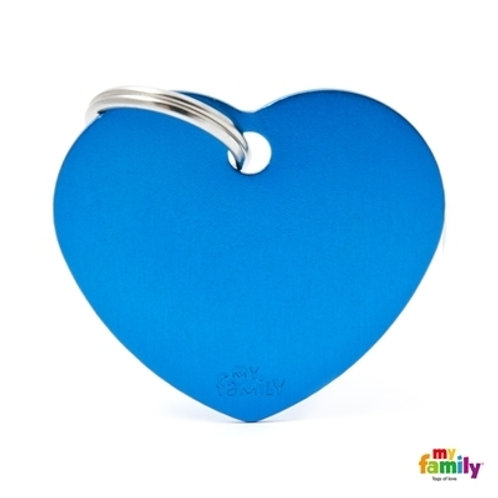 ID TAG BASIC COLLECTION BIG HEART BLUE IN ALUMINUM
