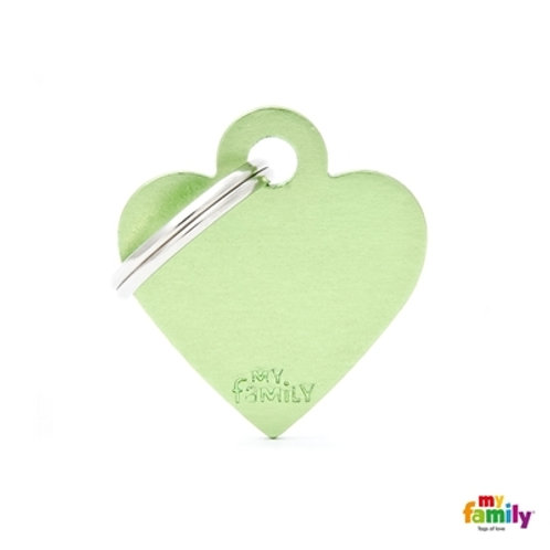 ID TAG BASIC COLLECTION SMALL HEART GREEN IN ALUMINUM
