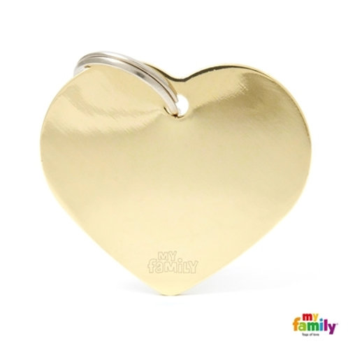 ID TAG BASIC COLLECTION BIG HEART IN GOLDEN PLATED BRASS