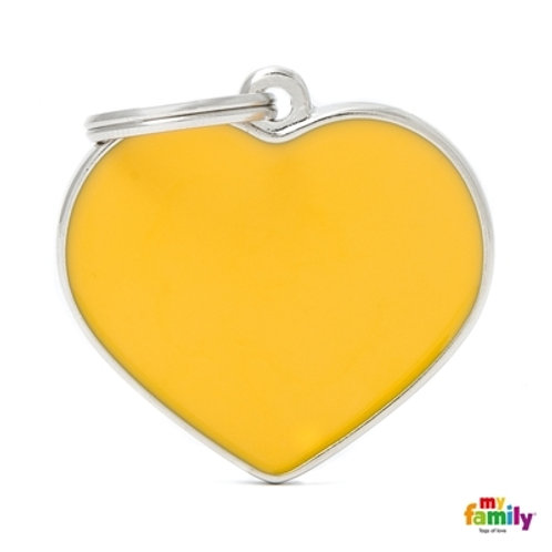 BASIC HANDMADE BIG YELLOW HEART ID TAG