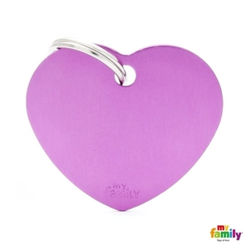 ID TAG BASIC COLLECTION BIG HEART PURPLE IN ALUMINUM