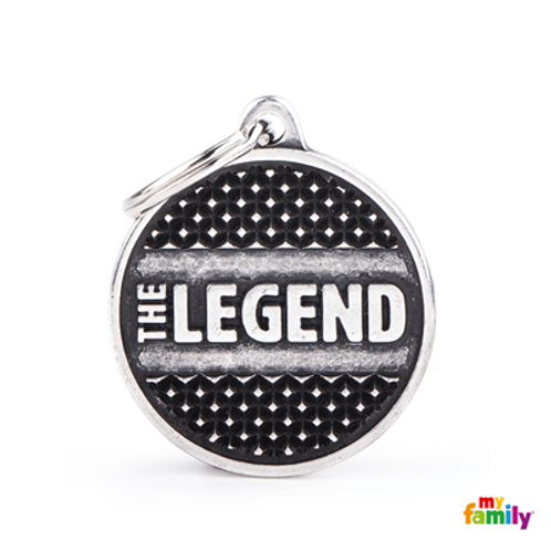 "ID TAG BIG CIRCLE ""THE LEGEND"" STUDS"