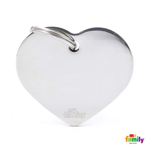 ID TAG BASIC COLLECTION BIG HEART IN CHROME PLATED BRASS