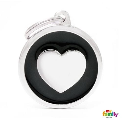 CLASSIC BIG BLACK CIRCLE HEART ID TAG