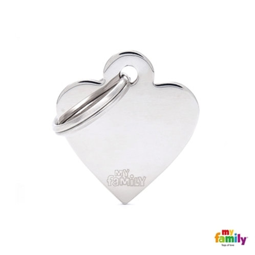 ID TAG BASIC COLLECTION SMALL HEART IN CHROME PLATED BRASS